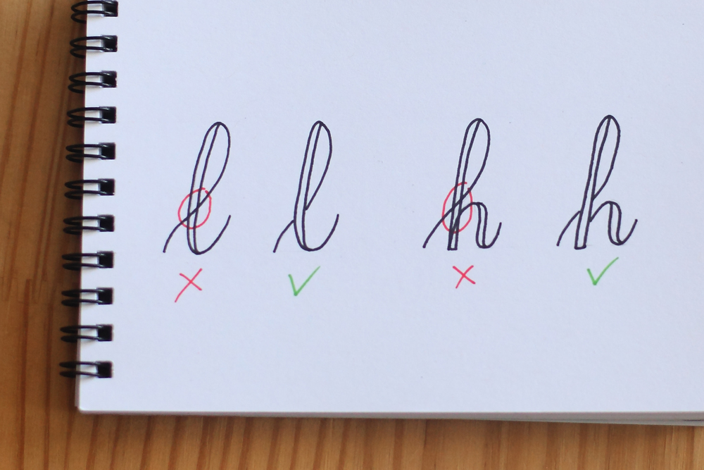 les lettres avec croisement (boucles) en fausse calligraphie