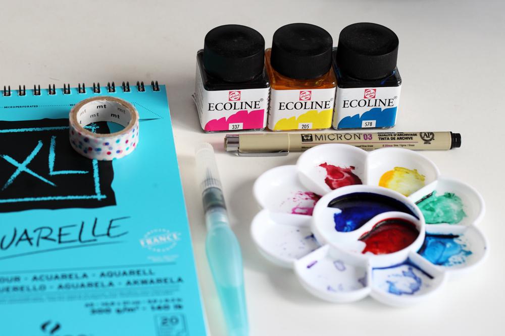 matériel encres Ecoline, papier Canson, masking tape