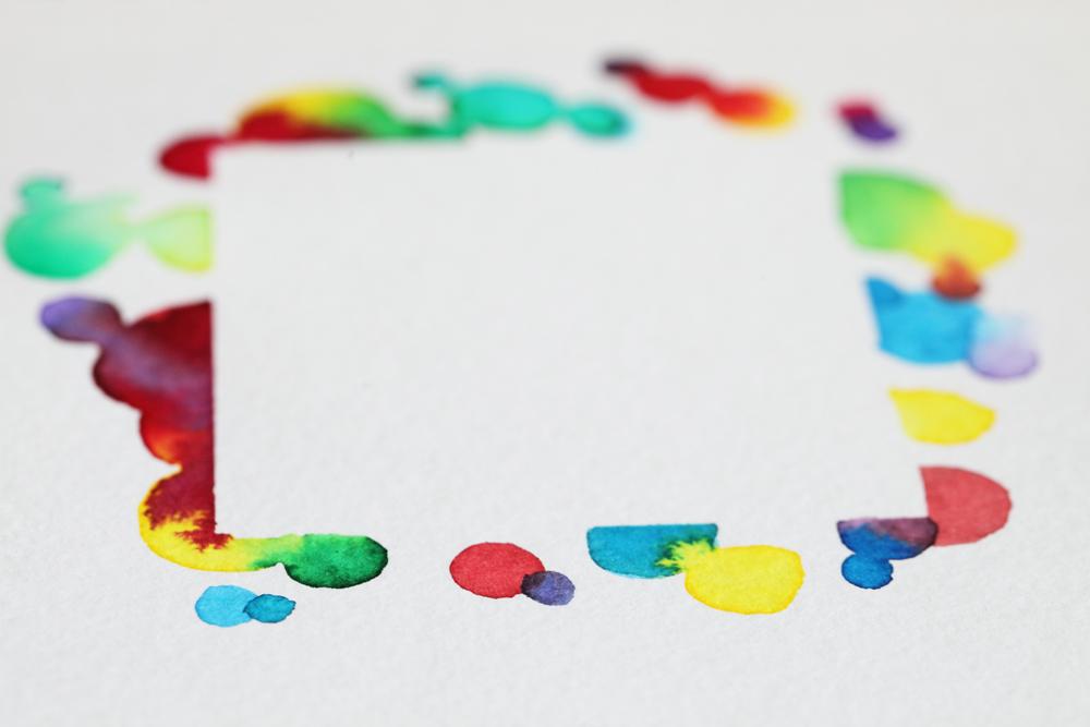 cadre abstrait à l'encre aquarelle