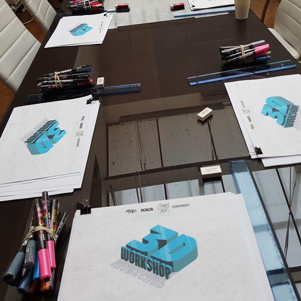 Atelier lettering 3D avec Tarwane